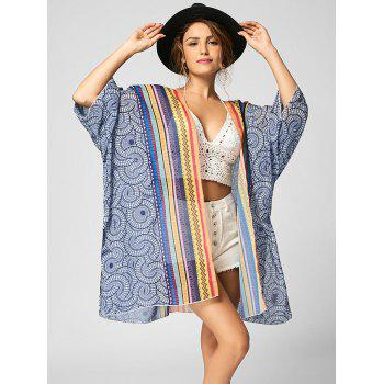 Tribal Print Chiffon Beach Cover Up - multicolorcolore L