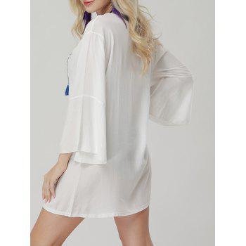 Embroidered Bell Sleeve Mini Cover Up Dress - ONE SIZE ONE SIZE
