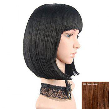 Neat Bang Short Straight Bob Human Hair Wig - AUBURN BROWN #30 AUBURN BROWN