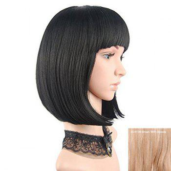 Neat Bang Short Straight Bob Human Hair Wig - BROWN WITH BLONDE BROWN/BLONDE