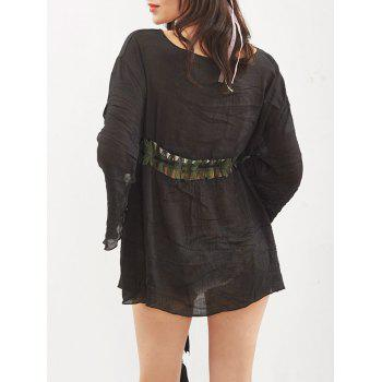 Hollow Out Tassel Kimono Cover Up - ONE SIZE ONE SIZE