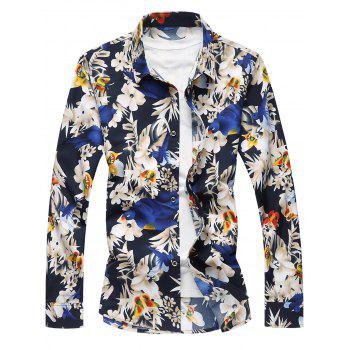 Plus Size Flowers and Birds Print Long Sleeve Shirt