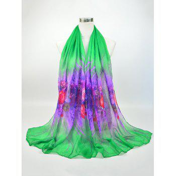Voile Flowers Printing Two Tone Shawl Scarf