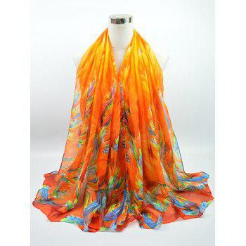 Gossamer Voile Multicolor Watercolour Printed Shawl Scarf