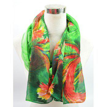 Gossamer Voile Multicolor Watercolour Printed Shawl Scarf - GREEN