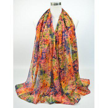 Voile Gossamer Nostalgic Pattern Shawl Scarf - BLUE AND RED BLUE/RED