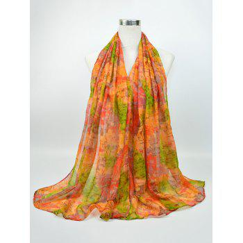 Voile Gossamer Nostalgic Pattern Shawl Scarf - GREEN AND YELLOW GREEN/YELLOW
