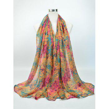 Voile Gossamer Nostalgic Pattern Shawl Scarf - PINK AND YELLOW AND GREEN PINK/YELLOW/GREEN