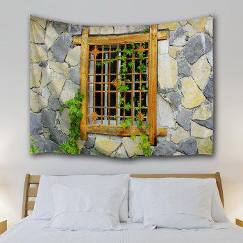 Woody Window Stone Wall Hanging Tapestry - COLORMIX W59 INCH * L79 INCH