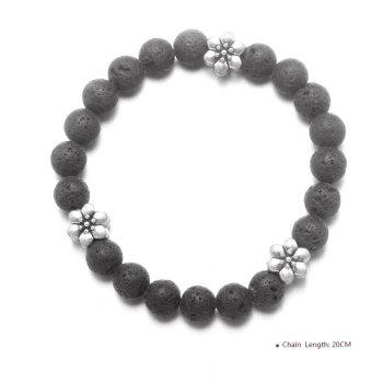 Flower Yoga Vintage Beaded Bracelet -  BLACK