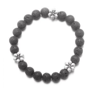 Flower Yoga Vintage Beaded Bracelet - BLACK BLACK