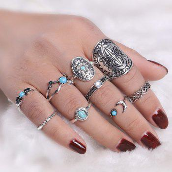 Vintage Faux Turquoise Oval Moon Ring Set - SILVER SILVER