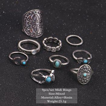 Vintage Faux Turquoise Oval Moon Ring Set -  SILVER