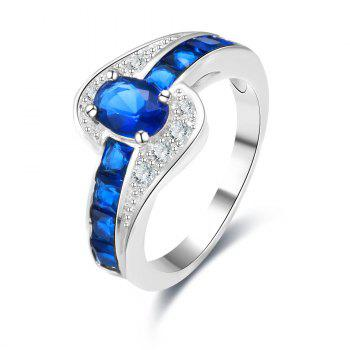 Artificial Sapphire Rhinestone Round Ring - BLUE BLUE