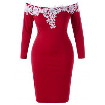 Plus Size Lace Applique Off The Shoulder Dress