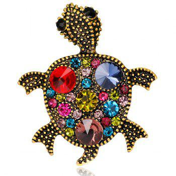 Turtle Shape Artificial Gem Inlay Engraved Brooch