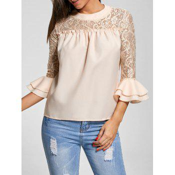 Crew Neck Lace Trim Bell Sleeve Top