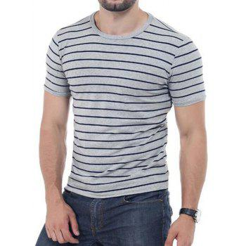 Crew Neck Striped Short Sleeves T-shirt - 2XL 2XL