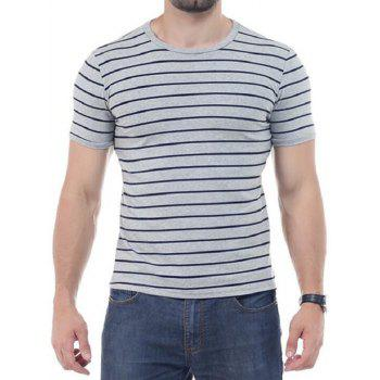Crew Neck Striped Short Sleeves T-shirt - GRAY XL