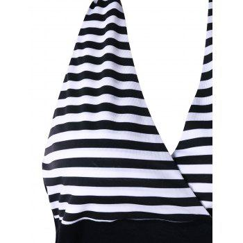 Striped Doubel Breasted Halter Tank Top - BLACK STRIPE XL