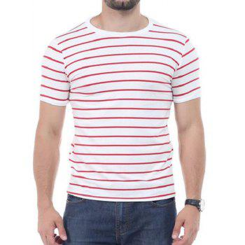 Crew Neck Striped Short Sleeves T-shirt - RED 5XL