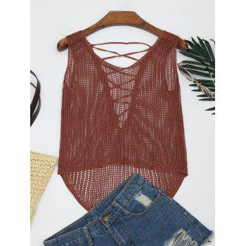 V Neck Lace-up Crochet Tank Top