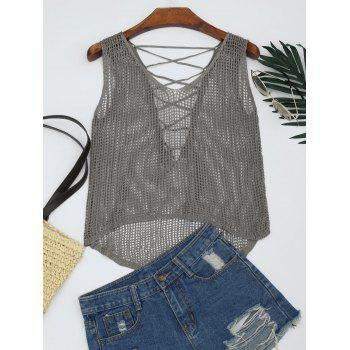 V Neck Lace-up Crochet Tank Top - SMOKY GRAY SMOKY GRAY