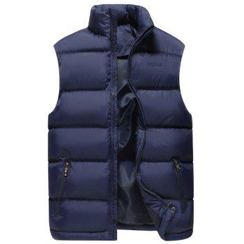 Zipper Pocket Embroidered Quilted Vest
