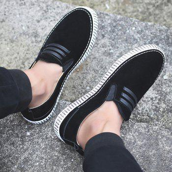 Elastic Band Laces Slip On Casual Shoes - BLACK 42