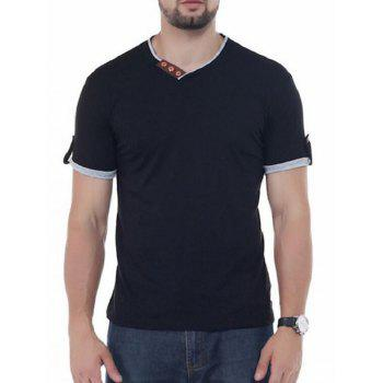 Button Embellish V Neck Tee - BLACK BLACK