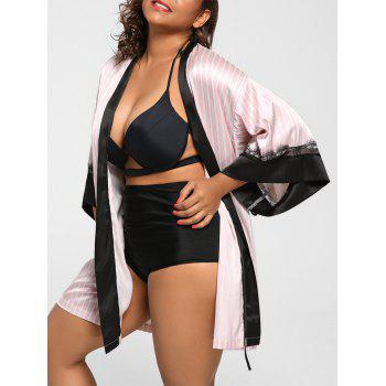 Plus Size Vertical Striped Night-Robe