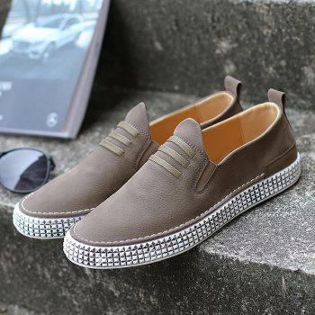 Elastic Band Laces Slip On Casual Shoes - KHAKI 44