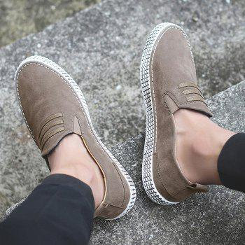 Elastic Band Laces Slip On Casual Shoes - Kaki 44