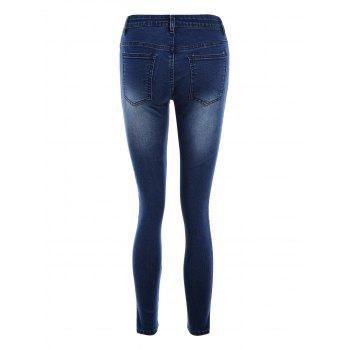 Pockets Fitted Pencil Jeans - DEEP BLUE DEEP BLUE