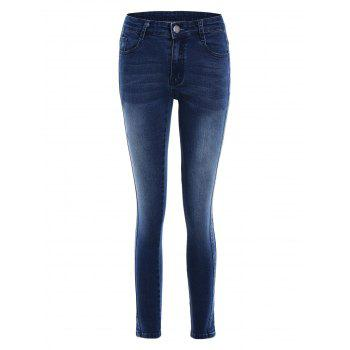 Pockets Fitted Pencil Jeans - DEEP BLUE L