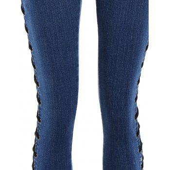 Lace Up Side Fitted Pencil Jeans - L L