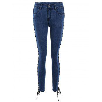 Lace Up Side Fitted Pencil Jeans - DEEP BLUE L