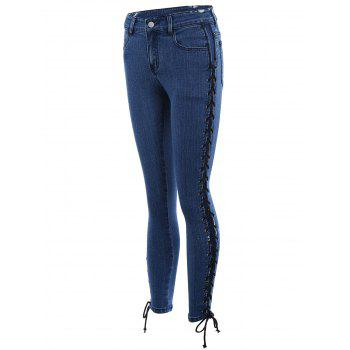Lace Up Side Fitted Pencil Jeans - XL XL