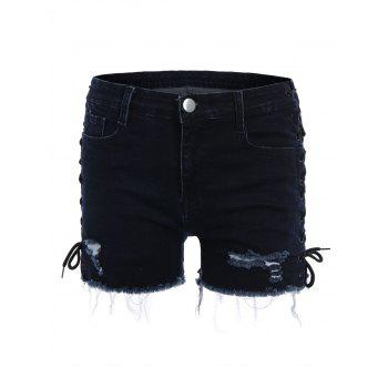 Ripped Jean Shorts with Lace Up