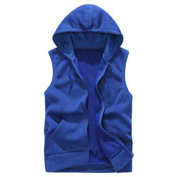 Rib Panel Hooded Zip Up Fleece Waistcoat