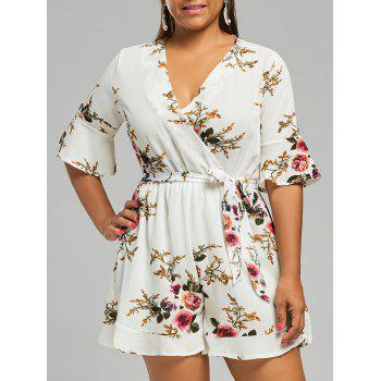 Belted Plus Size Chiffon Floral Dressy Romper