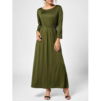 A Line Long Sleeve Long Dress