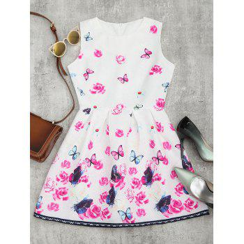 Butterfly Floral Jacquard Mini Dress