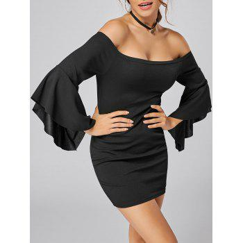 Off The Shoulder Bell Sleeve Mini Bodycon Dress