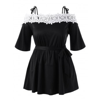 Floral Applique Cold Shoulder Plus Size Mini Dress