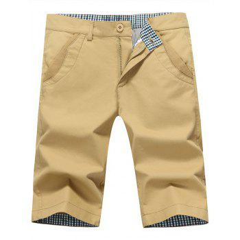 Back Pockets Zipper Fly Bermuda Shorts - KHAKI KHAKI