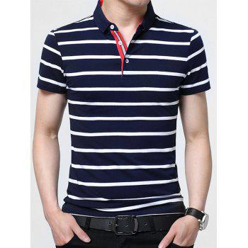 Striped Half Button Golf Shirt - PURPLISH BLUE L