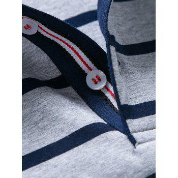 Striped Half Button Golf Shirt - LIGHT GREY LIGHT GREY