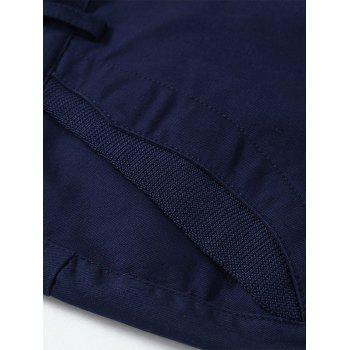 Back Pockets Zipper Fly Bermuda Shorts - DEEP BLUE 40
