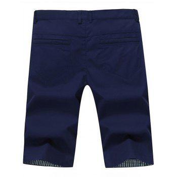 Back Pockets Zipper Fly Bermuda Shorts - Bleu Foncé 34